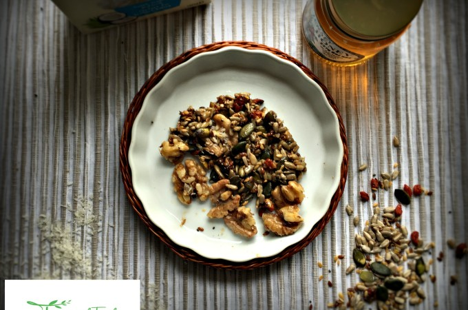 Sticky Coconut, Honey, Nuts and Seeds