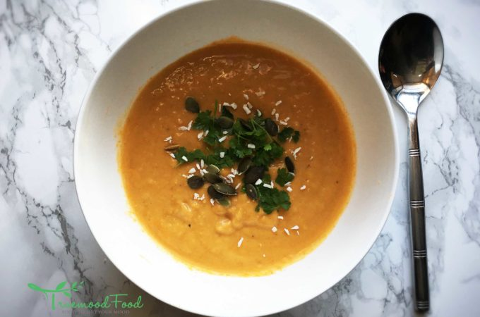 'Happy' Spiced Butternut Squash, Sweet Potato and Coconut Soup